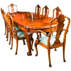 Early 20th Century Edwardian Queen Anne Revival Dining Table and 8 Chairs