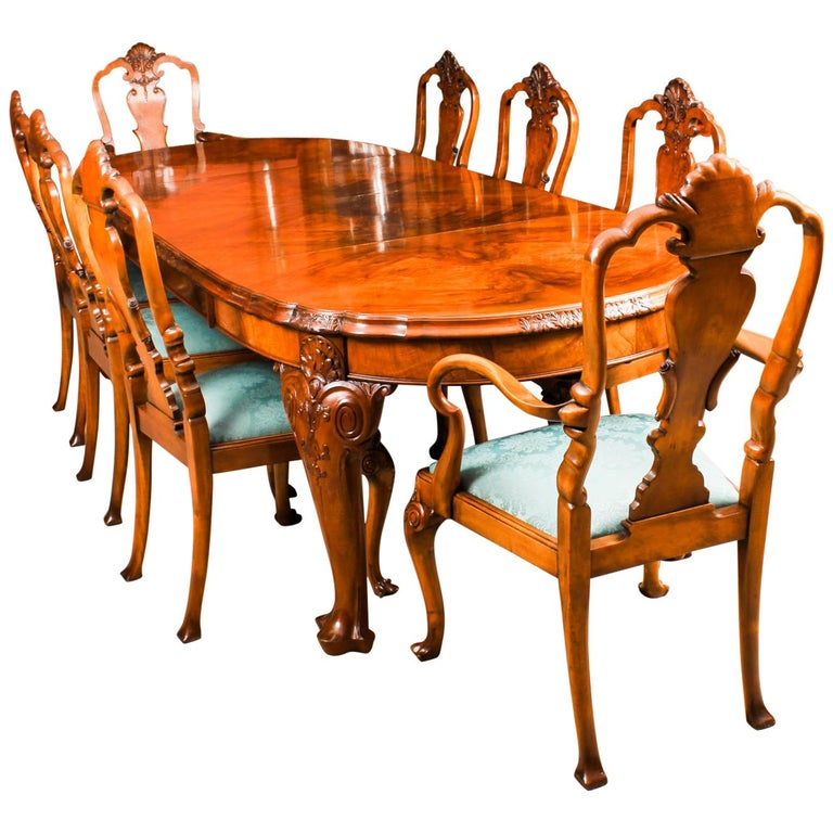 Early 20th Century Edwardian Queen Anne Revival Dining Table and 8 Chairs 1