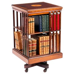 Early 20th Century Edwardian Revolving Bookcase Flame Mahogany