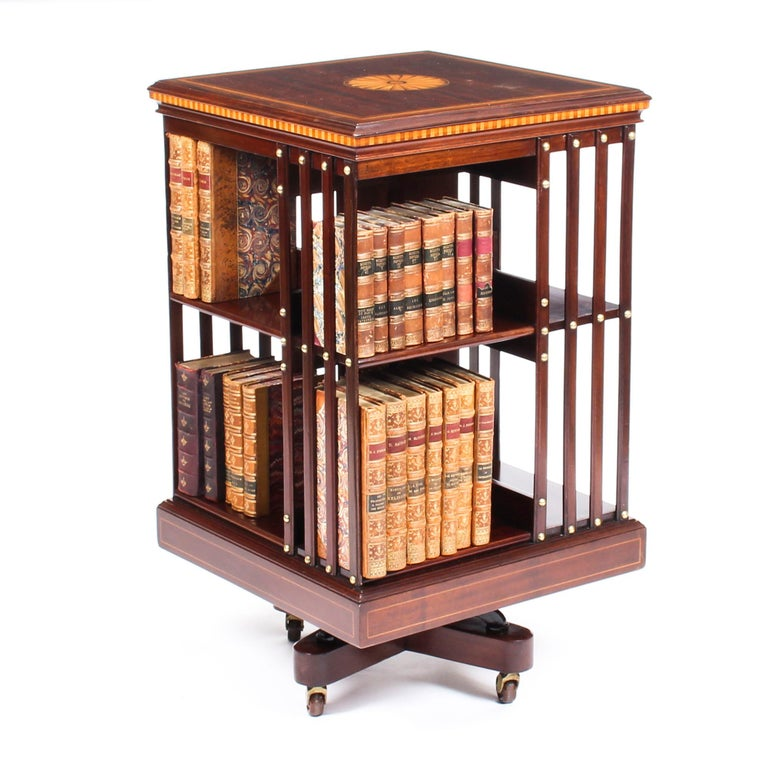 English Early 20th Century Edwardian Revolving Bookcase Flame Mahogany Maple & Co For Sale