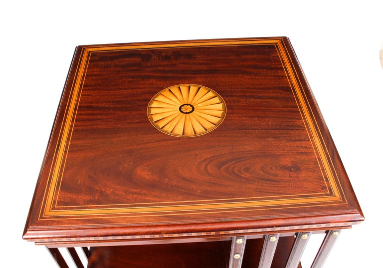 Early 20th Century Edwardian Revolving Bookcase Flame Mahogany Maple & Co In Good Condition For Sale In London, GB