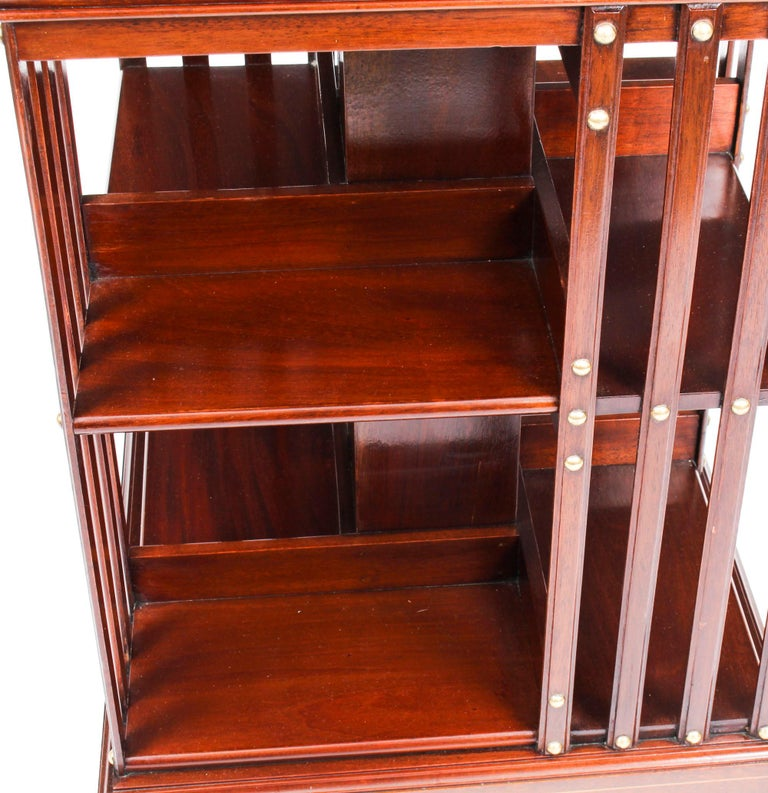 Early 20th Century Edwardian Revolving Bookcase Flame Mahogany Maple & Co For Sale 2