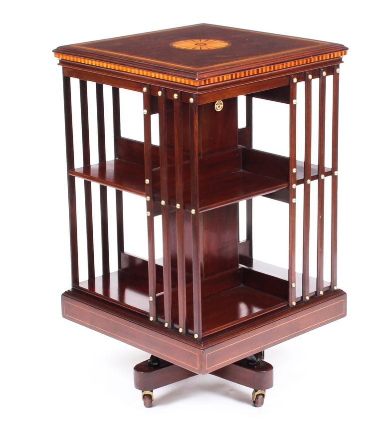 Early 20th Century Edwardian Revolving Bookcase Flame Mahogany Maple & Co For Sale 4