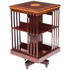 Early 20th Century Edwardian Revolving Bookcase Flame Mahogany Maple & Co