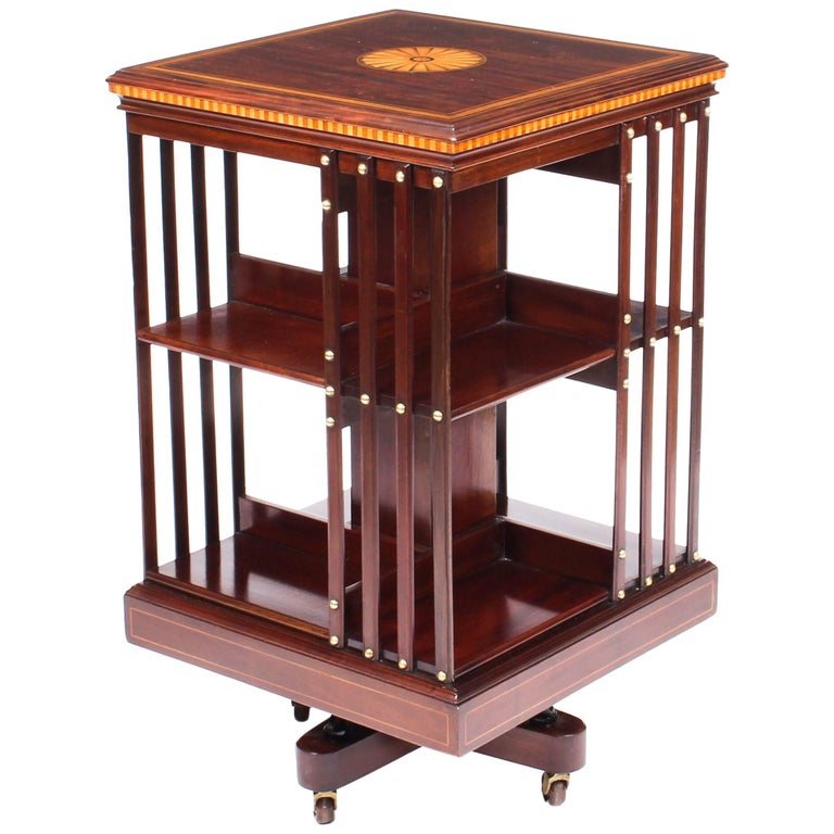 Early 20th Century Edwardian Revolving Bookcase Flame Mahogany Maple & Co For Sale