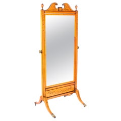 Early 20th Century Edwardian Satinwood Marquetry Inlaid Cheval Mirror