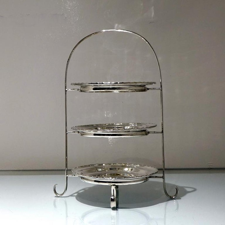 Early 20th Century Edwardian Silver plated Three Tier Cake Stand A Beardshaw In Good Condition For Sale In 53-64 Chancery Lane, London
