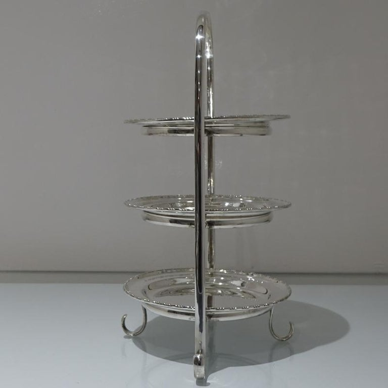 Early 20th Century Edwardian Silver plated Three Tier Cake Stand A Beardshaw For Sale 1