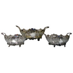 Early 20th Century Edwardian Sterling Silver Suite Three Dishes London 1908-1909