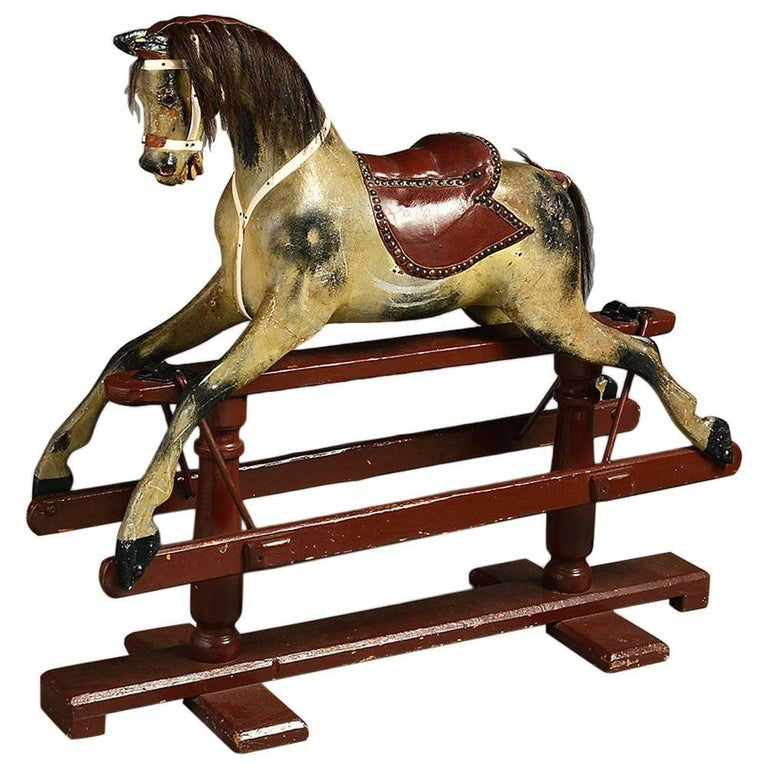Early 20th Century Edwardian Yellow and Dark Red Period Rocking Horse