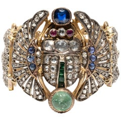 Early 20th Century Egyptian Revival Diamond and Gem-Set Scarab Bracelet