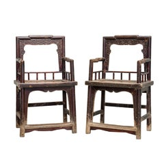Early 20th Century Elmwood Rose Armchairs
