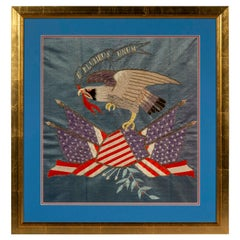 Early 20th Century Embroidered Picture of American Eagle