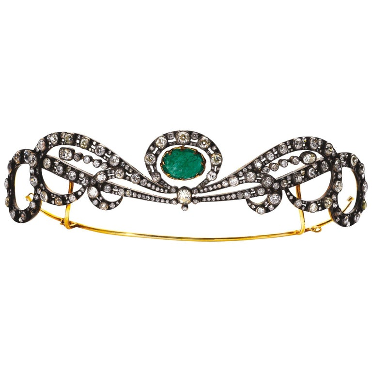 Early 20th Century Emerald and Diamond Tiara For Sale