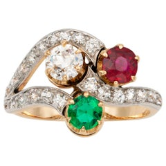 Early 20th Century Emerald, Ruby and Diamond Ring