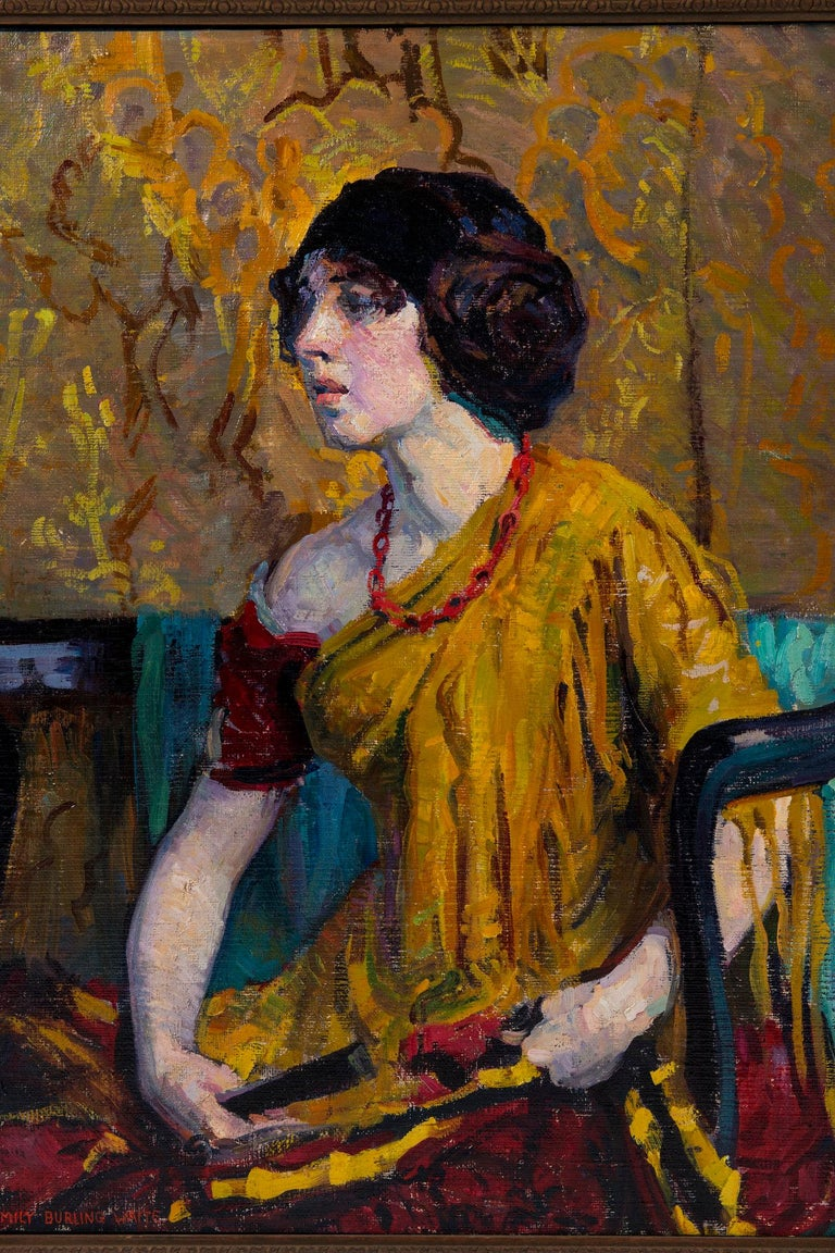 A beautiful and vividly colored early portrait by American artist Emily Burling Waite.   The career of local artist Emily Burling Waite (1887-1980) spanned more than a quarter of a century. She was known for her oil portraits and still-life