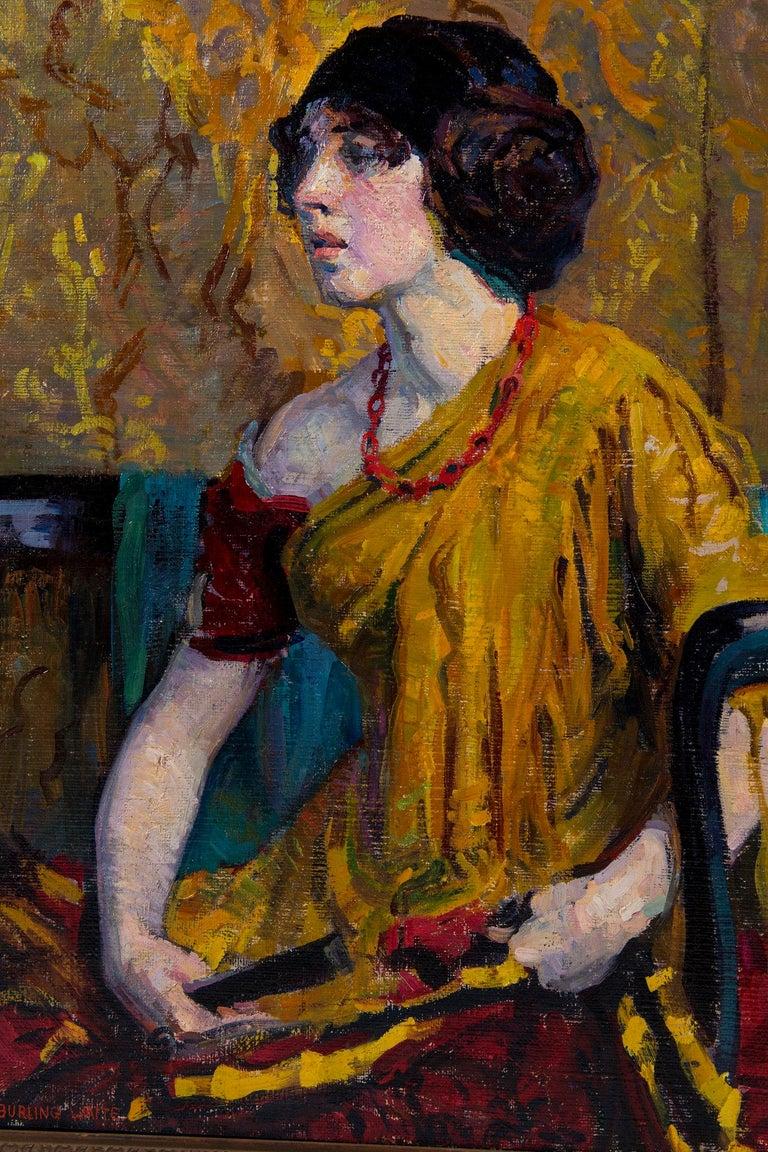 Art Deco Early 20th Century Emily Burling Waite Portrait Oil Painting For Sale