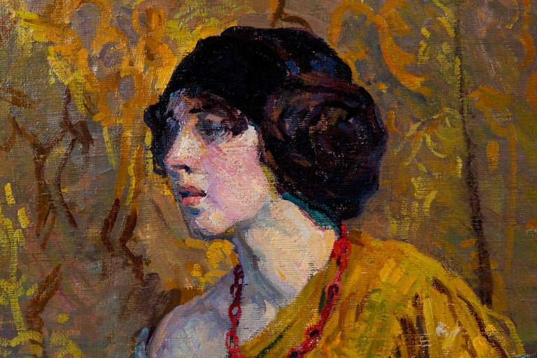Hand-Painted Early 20th Century Emily Burling Waite Portrait Oil Painting For Sale