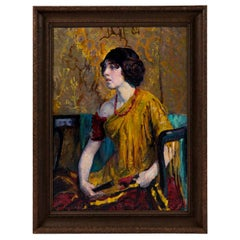 Early 20th Century Emily Burling Waite Portrait Oil Painting