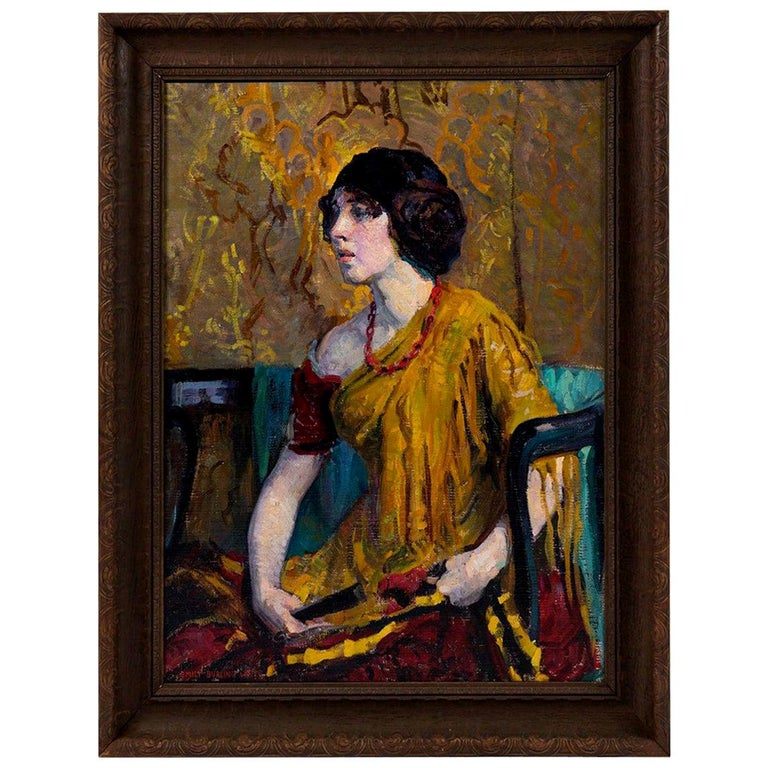 Early 20th Century Emily Burling Waite Portrait Oil Painting For Sale