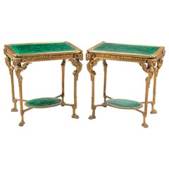 Early 20th Century Empire Malachite and Gilt Bronze Tables