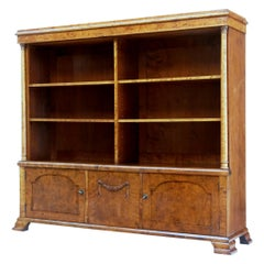 Early 20th Century Empire Revival Birch Bookcase Cabinet