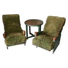 Early 20th Century English Art Deco Lounge Salon Set, 2 Chairs and a Table