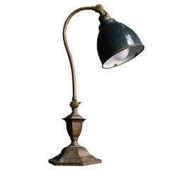 Early 20th Century English Articulated Brass C Arm Lamp