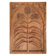 Early 20th Century English Arts & Crafts Carved Floral Panel