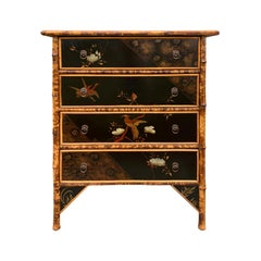 Early 20th Century English Bamboo & Chinoiserie Lacquered Four-Drawer Chest
