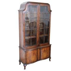 Early 20th Century English Bookcase in Briar Walnut Wood