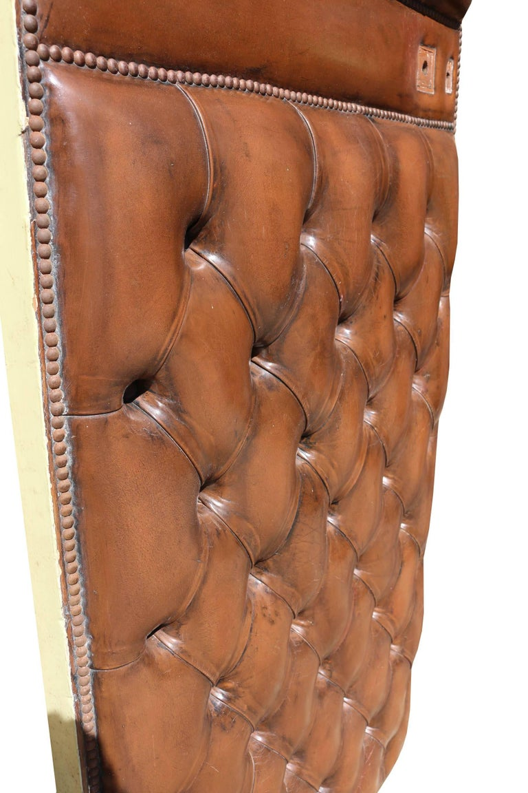 Early 20th Century English Brown Leather Chesterfield Door In Fair Condition For Sale In Wormelow, Herefordshire