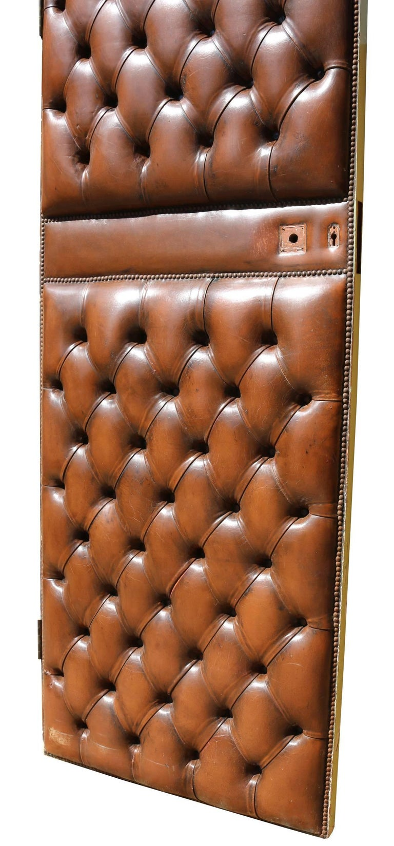 Early 20th Century English Brown Leather Chesterfield Door For Sale 1