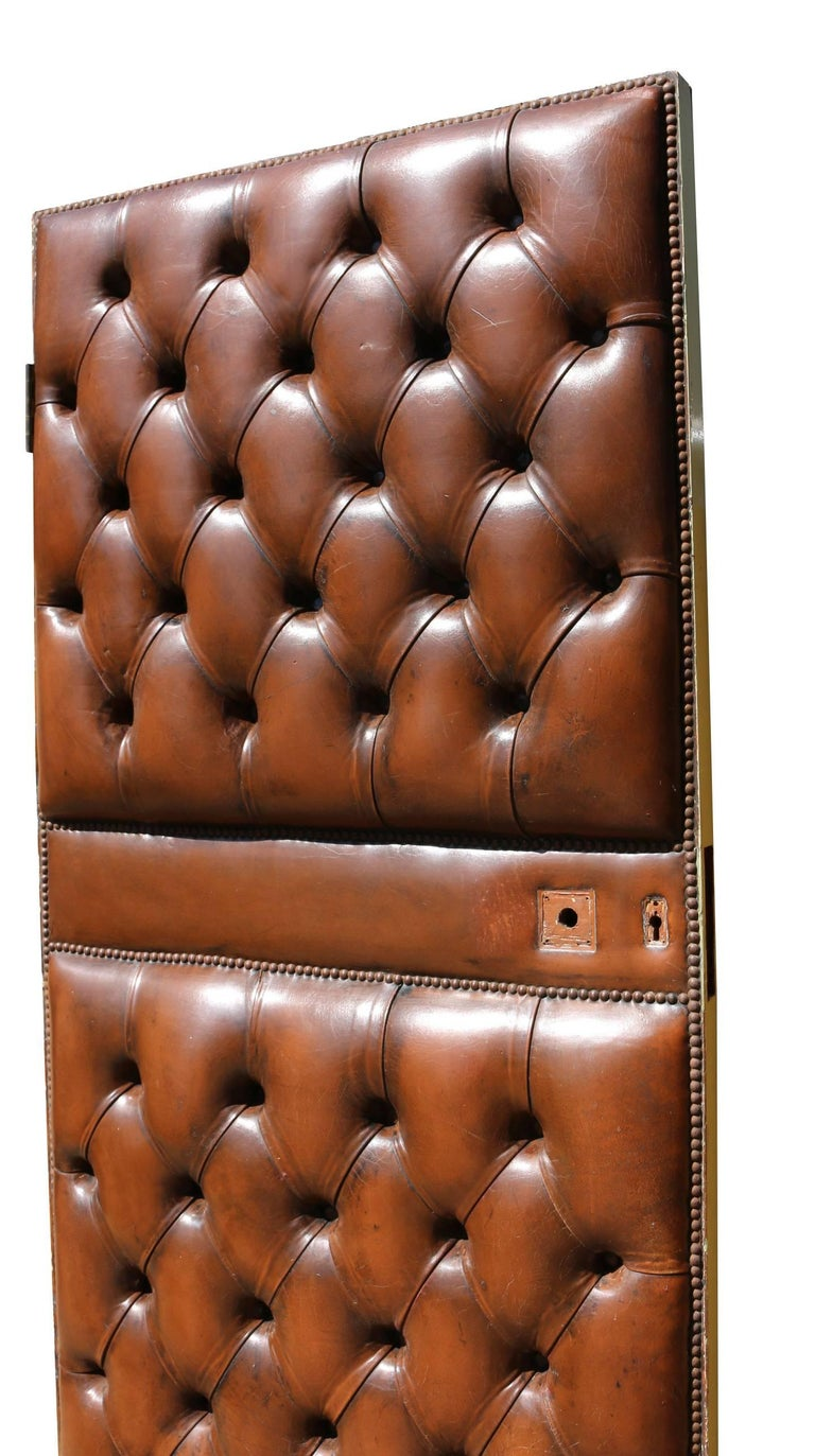 Early 20th Century English Brown Leather Chesterfield Door For Sale 2