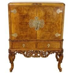 Early 20th Century English Burr Walnut Cocktail Cabinet