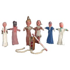 Early 20th Century English Carved Wooden Punch & Judy Puppets 'Lots of Extras'