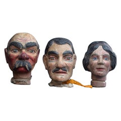 Early 20th Century English Carved Wooden Puppet Heads
