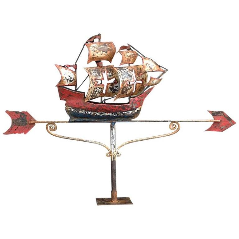 Early 20th Century English Cast Iron Folk Art Galleon Weathervane For Sale
