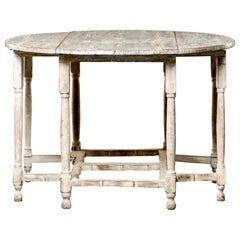 Early 20th Century English Cerused Gate Leg Drop Leaf Table