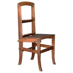 Early 20th Century English Country House Oak Metamorphic Step Ladder Chair