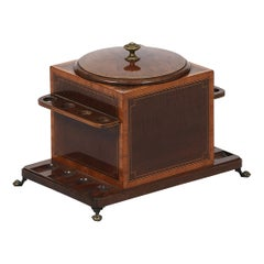 Early 20th Century English Edwardian Humidor and 8 Pipe Stand