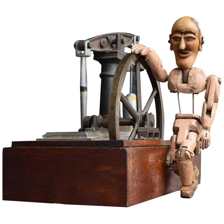 Early 20th Century English Engineers Window Display Bronze Pump Model For Sale