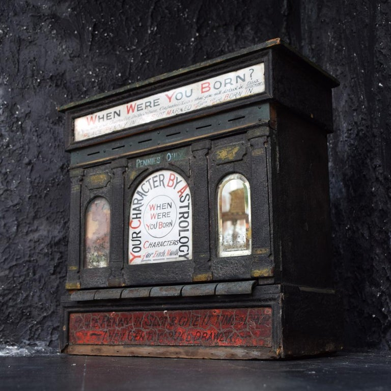 Wood Early 20th Century English Fairground Fortune Telling Penny Machine For Sale