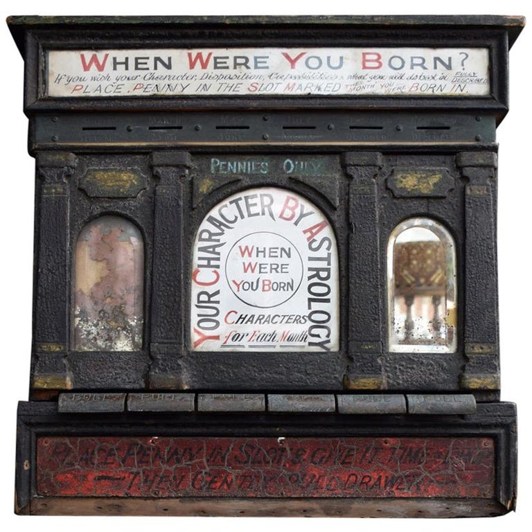Early 20th Century English Fairground Fortune Telling Penny Machine For Sale