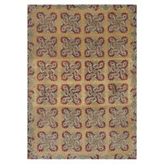 Early 20th Century English Floral Blue, Green, Red and Yellow Needlepoint Rug