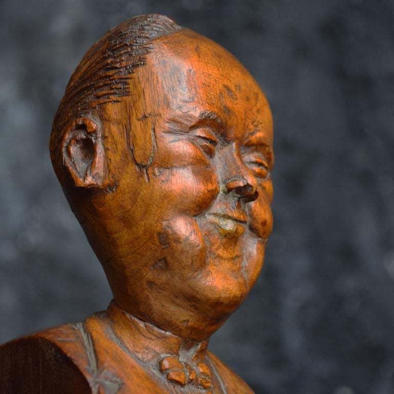 British Early 20th Century English Folk-art Hand Carved Gentleman Boxwood Figure  For Sale