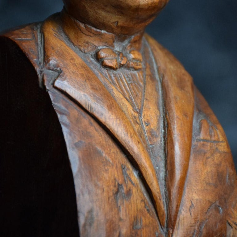 Hand-Carved Early 20th Century English Folk-art Hand Carved Gentleman Boxwood Figure  For Sale