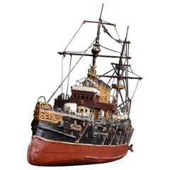 Early 20th Century English Folk Art Scratch Built Ship Model Thunder
