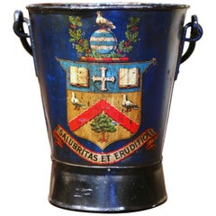 Early 20th Century English Hand Painted Iron Coal Bucket with Coat of Arms Decor
