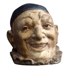 Early 20th Century English Hand Sculpted Signed Pottery Clown Tobacco Jar